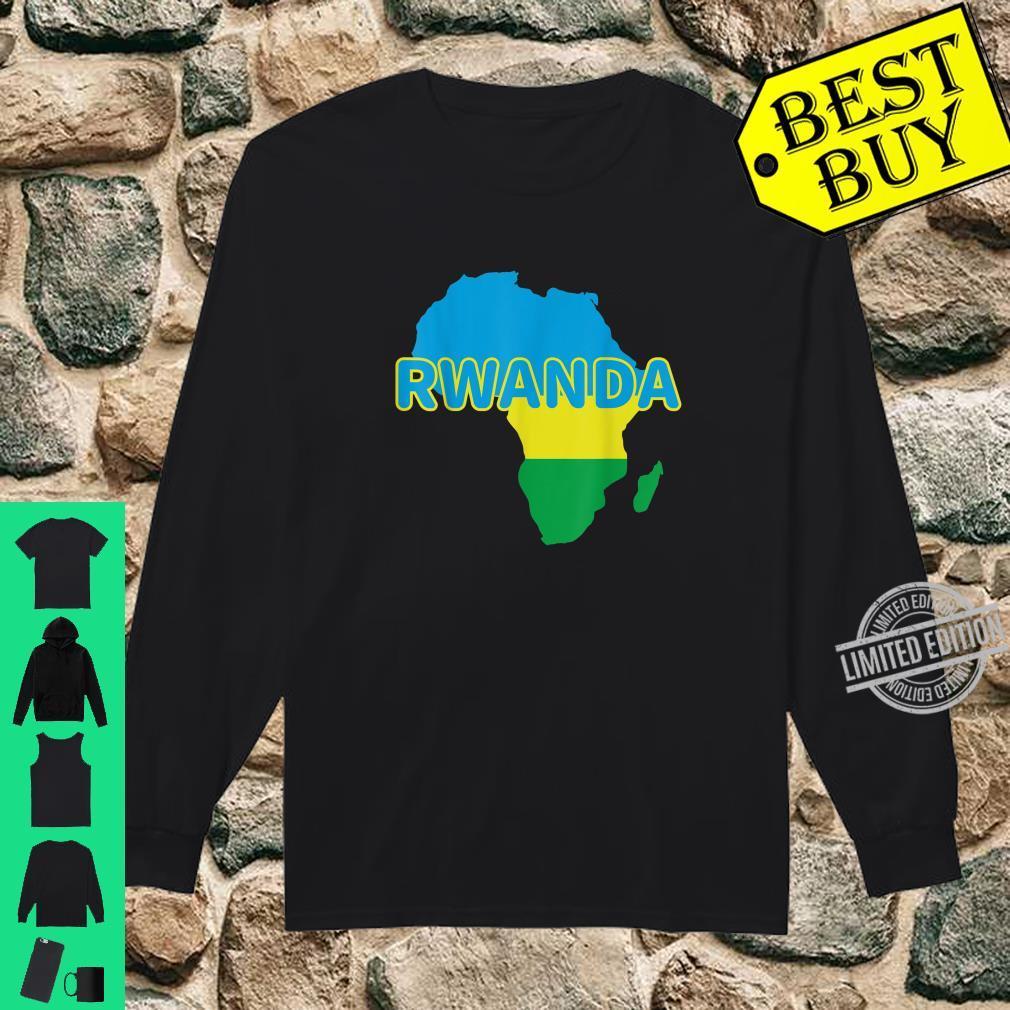 Rwanda Rwandan Rwandese Pride Flag Map Africa Print Shirt long sleeved